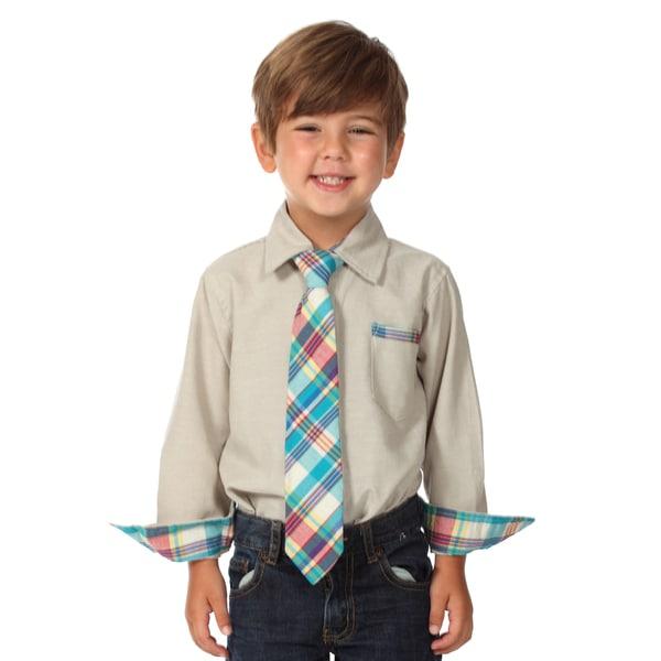 Future Trillionaire Boys Grey Plaid Cotton Shirt and Tie Set