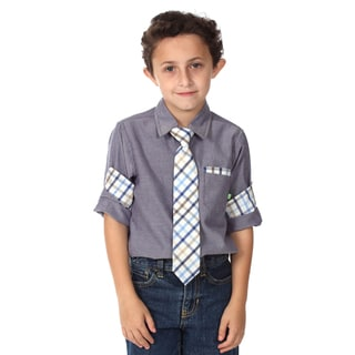 Future Trillionaire Boys Blue and Plaid Cotton Shirt and Tie Set