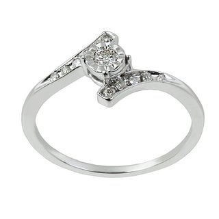 10k White Gold 1/6ct TDW Diamond Halo Promise Ring