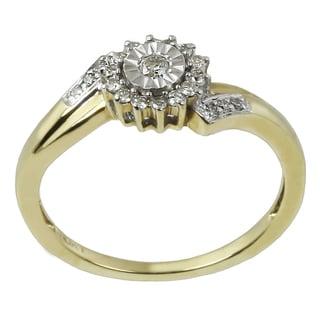 10k Two-tone Gold 1/5ct TDW Diamond Halo Promise Ring
