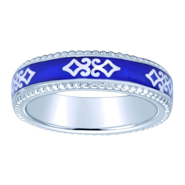 Sterling Silver Blue Enamel Celtic Stackable Ring