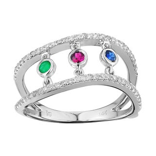 10k White Gold 1/2ct TDW Diamond and Gemstone Ring