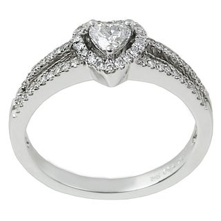 Contessa 18k White Gold 1/2ct TDW Heart-shaped Diamond Halo Ring