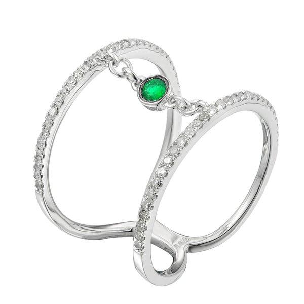 14k White Gold .30ct TDW White Diamond and Emerald Engagement Ring (G-H , 12 -13)