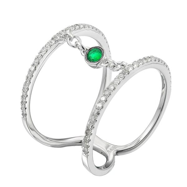 14k White Gold .30ct TDW White Diamond and Emerald Engagement Ring (G-H , 12 -13)