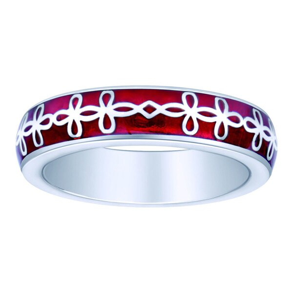 Sterling Silver Red Enamel Celtic Loop Stackable Ring