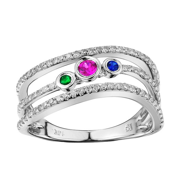 White Gold 0.46ct TDW Three Gemstone and Diamond Ring (G-H, 12 -13)