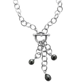 Pearls For You 17-inch Sterling Silver Tahitian Pearls Drop Necklace (9-11 mm)