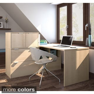 i3 by Bestar Closed Storage L-shaped Desk