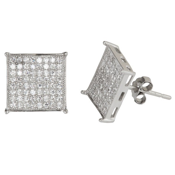 Sterling Silver Micropave Cubic Zirconia In-set Square Stud Earrings