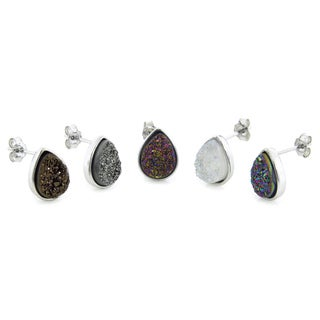 Eternally Haute Sterling Silver and Druzy Gemstone Teardrop Stud Earrings
