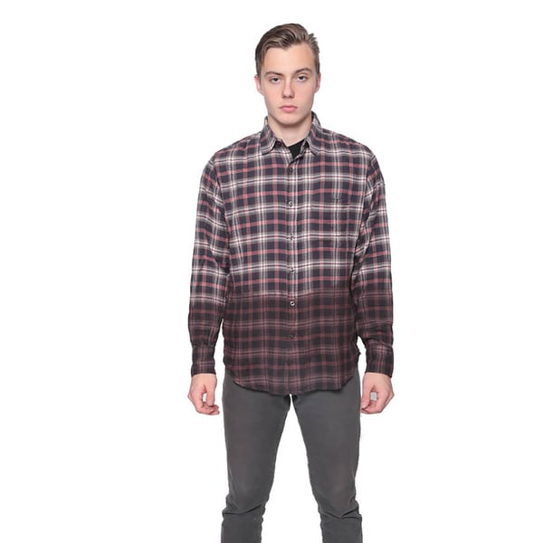 Men's Dip-dyed Flannel Button-down Shirt