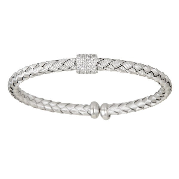 Sterling Silver CZ Accent Basketweave Cuff Bangle