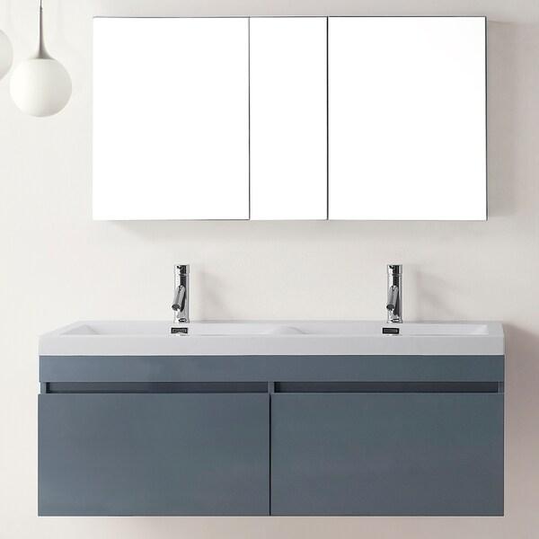 Virtu USA Zuri 55-inch Grey Double Sink Bathroom Vanity