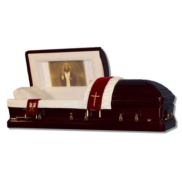 The Official Vatican Foundation Sacred Heart II Mahogany Casket