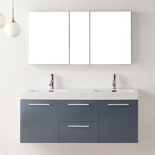 Virtu USA Midori 54-inch Grey Double Sink Bathroom Vanity Set
