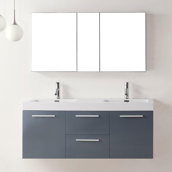 Virtu Usa Midori  Inch Grey Double Sink Bathroom Vanity Set