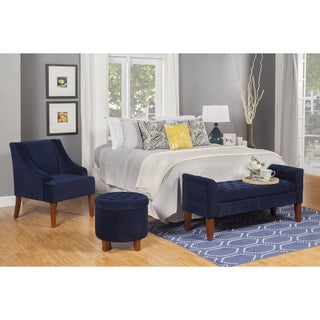 HomePop Ink Navy Swoop Arm Velvet Accent Chair