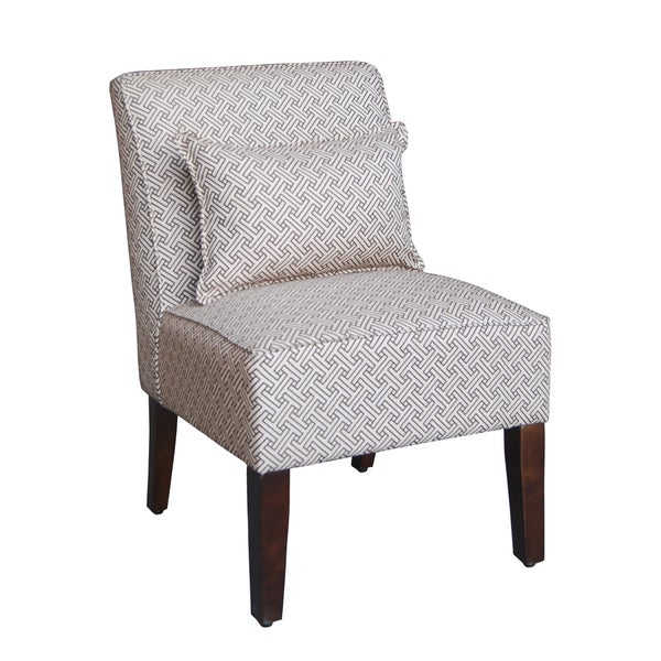 HomePop Chocolate/ Cream Greek Key Pattern Slipper Accent Chair