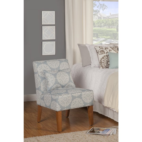 HomePop Slipper Porcelain Blue and Cream Medallion Accent Chair