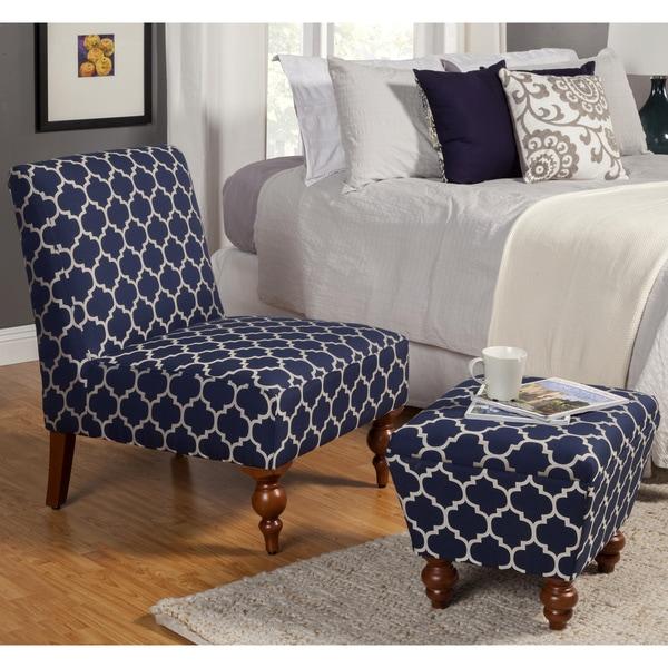 HomePop Slipper Blue/ Cream Quatrefoil Accent Chair and Ottoman