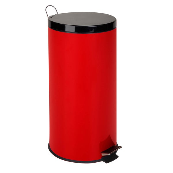 30-Liter Round Step Can, Ruby Red
