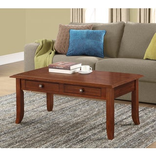 WYNDENHALL Collins Collection Coffee Table in Medium Mahogany Brown