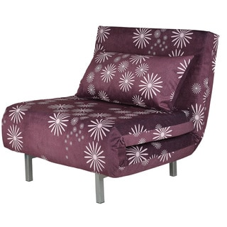 Cortesi Home Savion Purple Convertible Accent Chair Bed