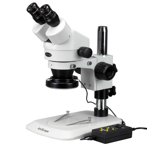 AmScope 7x-90x Stereo Zoom Microscope with Variable 144-LED Ring Light