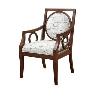 Madison Park Clari Mocha Round Medallion Exposed Wood Arm Chair