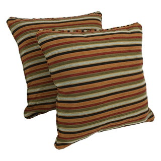 Blazing Needles 25-inch 'Cadillac' Jacquard Chenille Square Floor Pillows with Inserts (Set of 2)