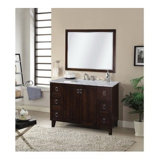 48-inch Carrara White Marble Top Single Sink Bathroom Vanity