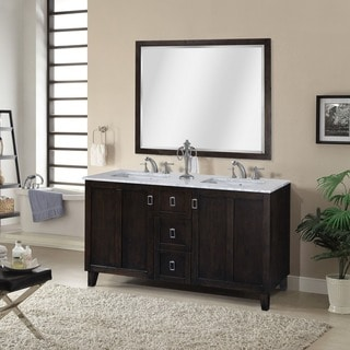 Carrara White Marble Dark Brown Finish Double Sink Bathroom Vanity