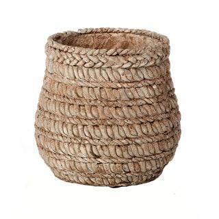 Brown 5.91-inch Cement Round Weave Pot