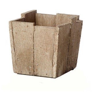 Tan Cement Square Wood Crate Pot