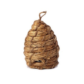 Tan 3.5-inch Straw Bee Skep Ornament (Pack of 6)