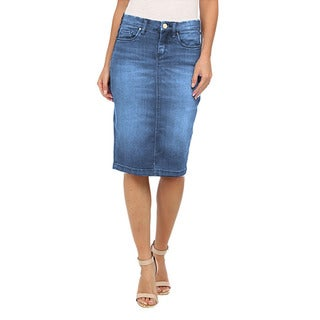 Tabeez Women's Denim Pencil Skirt with Fading