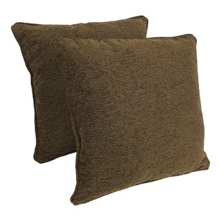 Blazing Needles 25-inch 'Vermont' Jacquard Chenille Square Floor Pillows with Inserts (Set of 2)