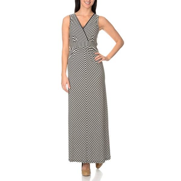 Chelsea & Theodore Diagonal Stripe Maxi Dress