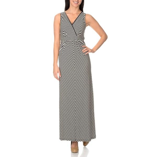 Chelsea & Theodore Diagonal Stripe Maxi Dress