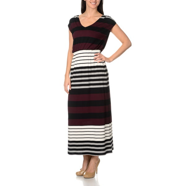 Chelsea & Theodore Variegated Stripe Jersey Maxi Dress