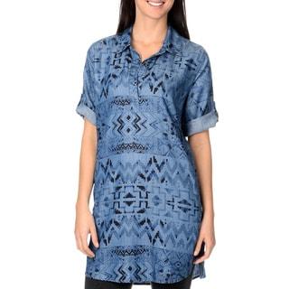 Chelsea & Theodore Aztec Print Shirt Dress
