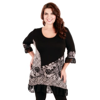 Woman's Plus Size Long Sleeve Lace Top