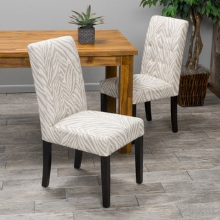 Christopher Knight Home Gentry Zebra Print Fabric Dining Chair (Set of 2)
