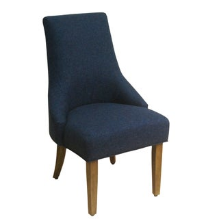 HomePop Navy Textured Woven Solid Wood Accent Chair Set of 2