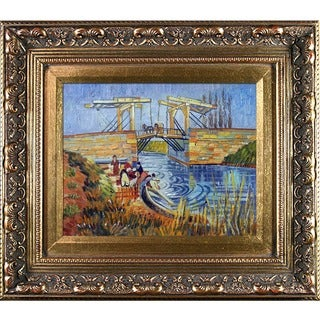 Vincent Van Gogh 'Langlois Bridge at Arles with Women Washing' Hand-painted Framed Canvas Art