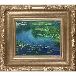 Claude Monet 'Water Lilies' Hand-painted Florentine Framed Canvas Art