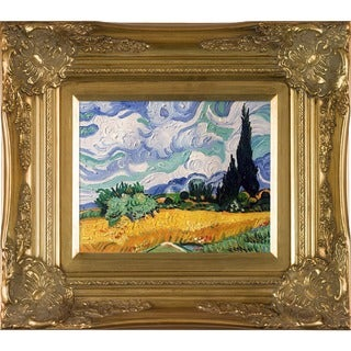 Vincent Van Gogh Wheat Field with Cypresses Hand Painted Framed Canvas Art