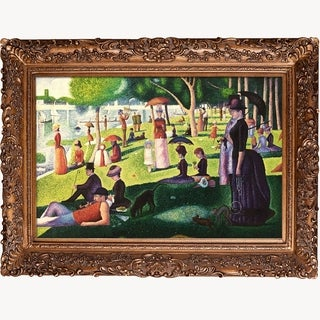 Georges Seurat 'Sunday Afternoon on the Island of La Grande Jatte' Hand-painted Framed Canvas Art