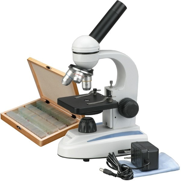 AmScope 40x-1000x Biology Microscope with 100 Specimen Slides